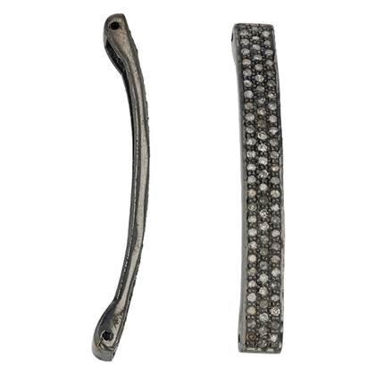 rhodium sterling silver 80pts 40mm diamond bar connector