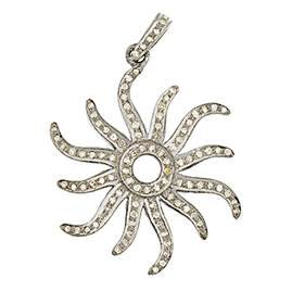 rhodium sterling silver 80pts 30mm diamond sun pendant