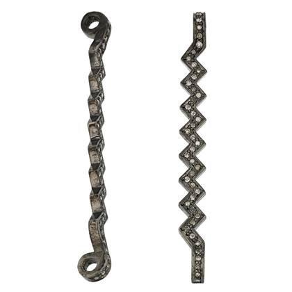rhodium sterling silver 37pts 49mm diamond bar connector