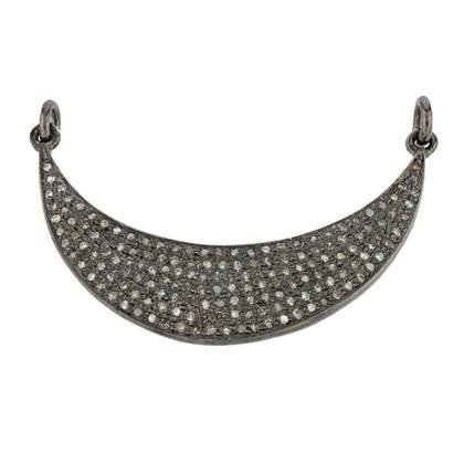 rhodium sterling silver 1.23cts 40mm diamond crescent moon connector