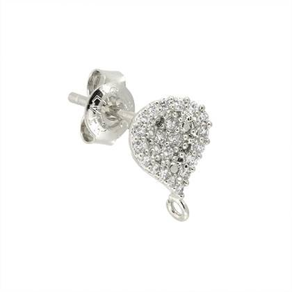 rhodium sterling silver 7.5mm pave pear curved drop earring
