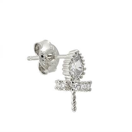 rhodium sterling silver 6x4mm rondelle stud earring