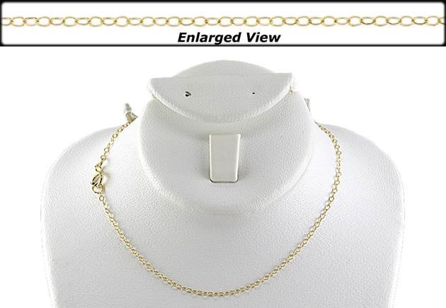 14ky 18 inches ready to wear flat cable chain necklace with springring clasp