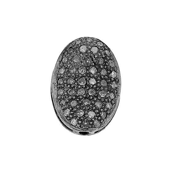 rhodium sterling silver 50pts 13x9mm diamond flat oval bead