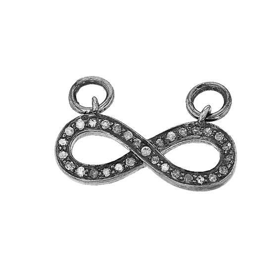 rhodium sterling silver 20pts 20x8mm diamond infinity pendant