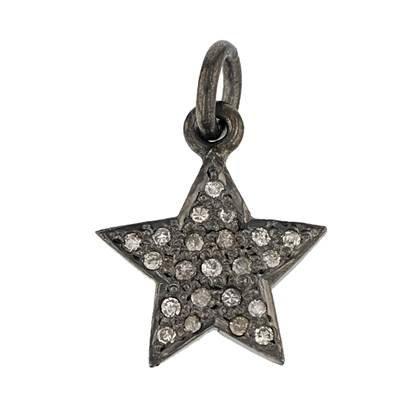 rhodium sterling silver 9mm diamond star charm