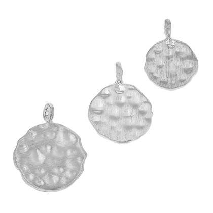 Rhodium Plated Sterling Silver Hammered Disc Charm