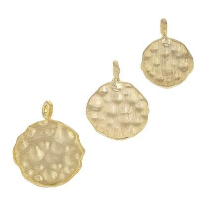 Gold Plated Sterling Silver Hammered Disc Charm