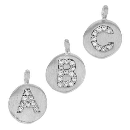 8mm Disc Cubic Zirconia Initial H Charm