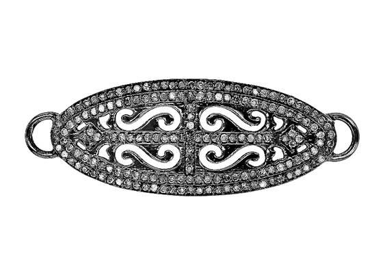 rhodium sterling silver 41x14mm diamond connector