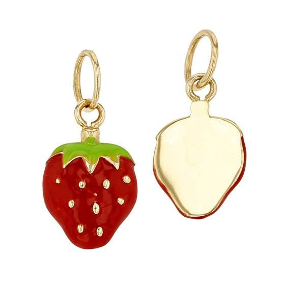 Fruit Charms Strawberry Enamel Charms Strawberry Bracelet Beads Gold Plated Findings MLS90 8x15mm 24k Shiny Gold Strawberry Charms