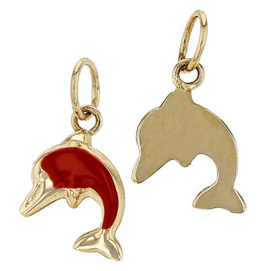 14ky 7x9.5mm dolphin charm, red