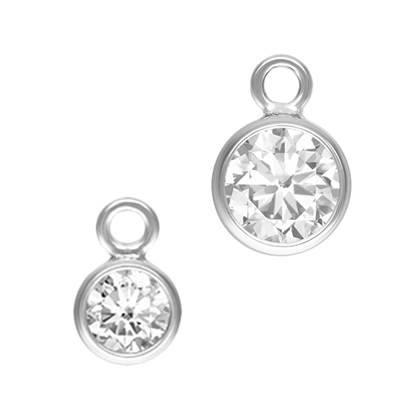Sterling Silver Bezel Cubic Zirconia Drop