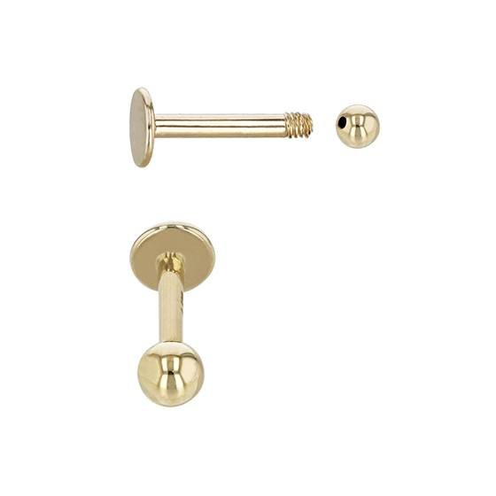 14ky 8x1.6mm cartilage disc stud earring with screw ball