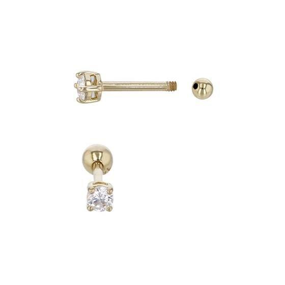 14ky 6x1mm cubic zirconia 3mm ball screw stud earring