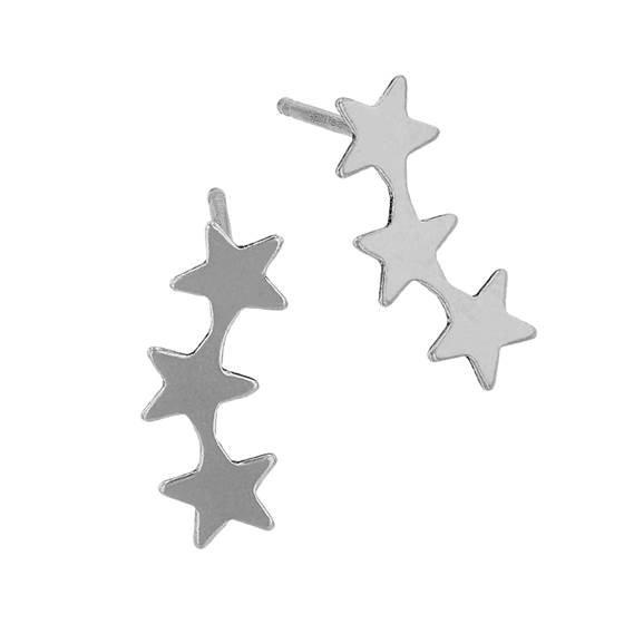 Sterling Silver 3 Stars Stud Earring