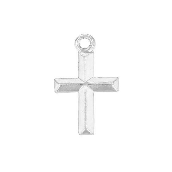 ss 7x9.5mm cross charm; convex