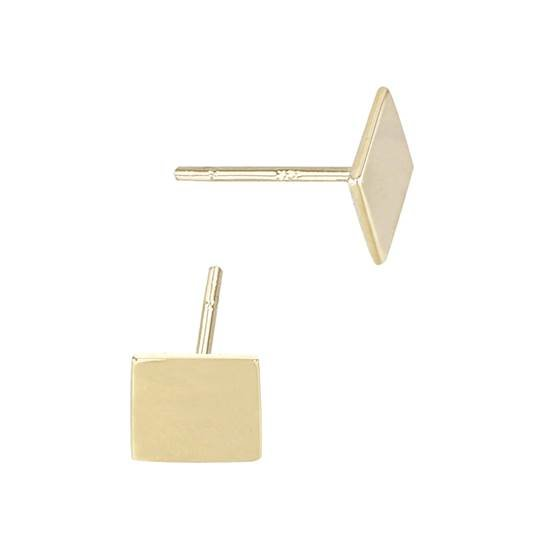 14ky 6mm square stud earring