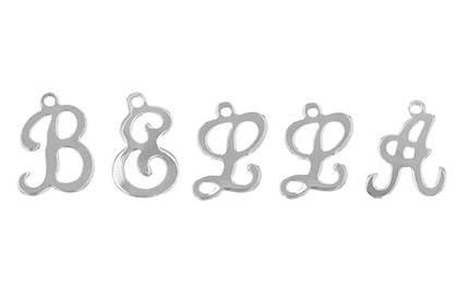 Sterling Silver Cursive Script Letter Charm
