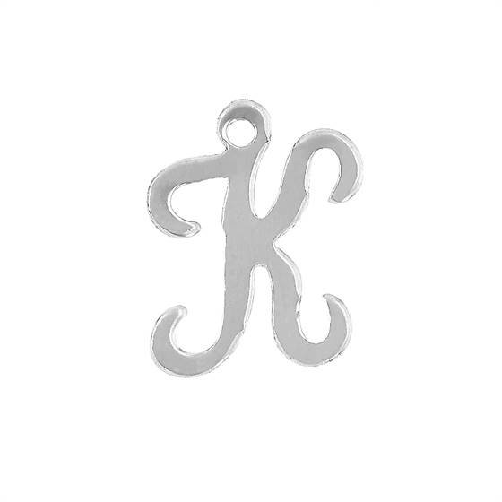 ss 11mm cursive script letter k charm