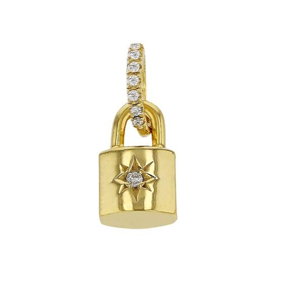 12x7.5mm cubic zirconia starburst padlock charm
