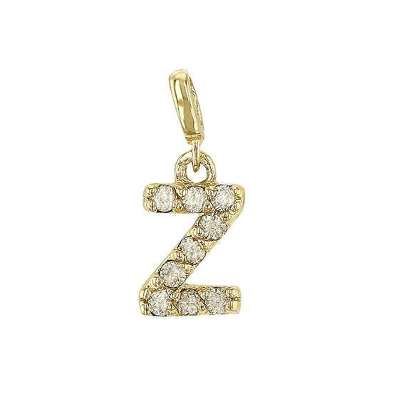 14ky diamond block letter z initial charm