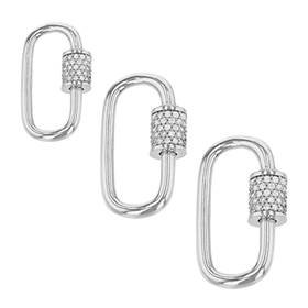 Sterling Silver Cubic Zirconia Carabiner Clasp