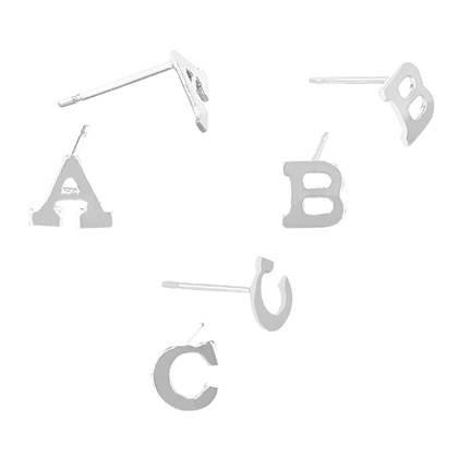 Sterling Silver Initial Stud Earring