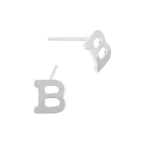 sterling silver 5.6mm block style letter b stud earring