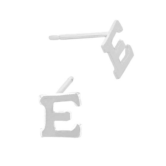 sterling silver 5.6mm block style letter e stud earring