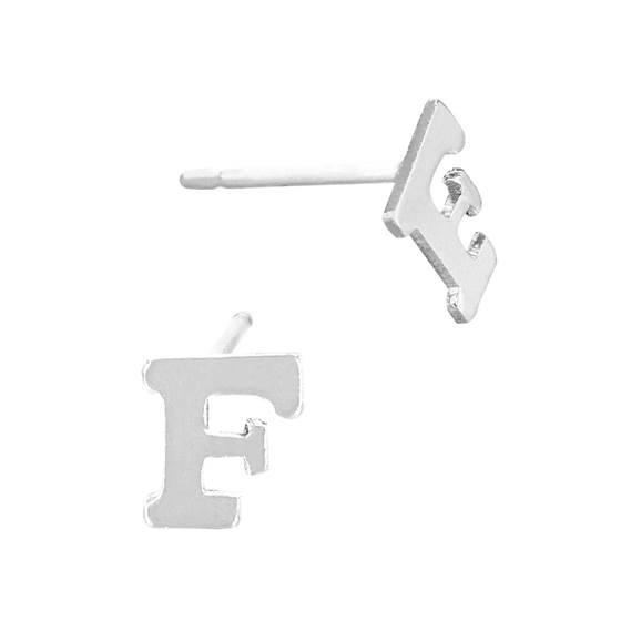 ss 5.6mm block style letter f stud earring