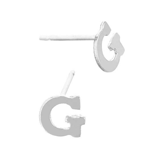 sterling silver 5.6mm block style letter g stud earring
