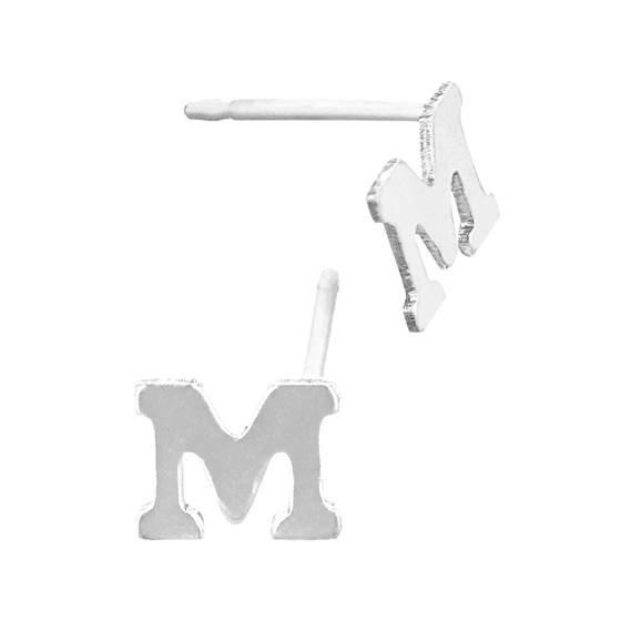 sterling silver 5.6mm block style letter m stud earring