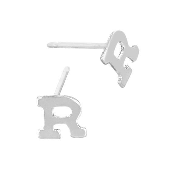 sterling silver 5.6mm block style letter r stud earring