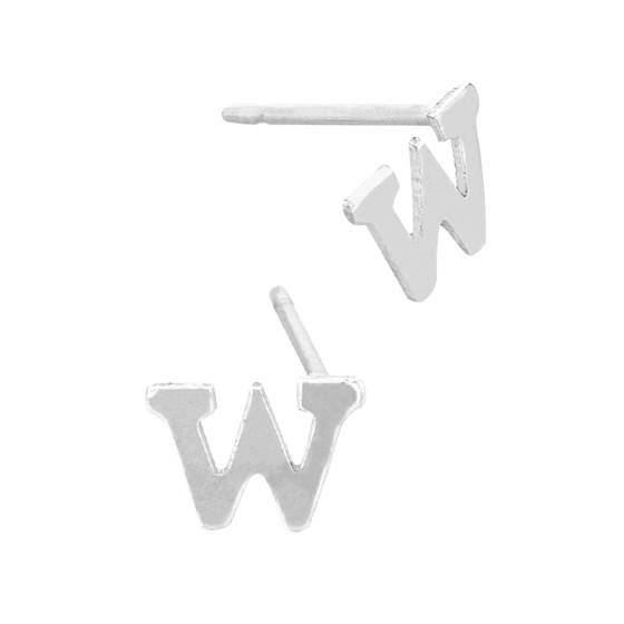 sterling silver 5.6mm block style letter w stud earring