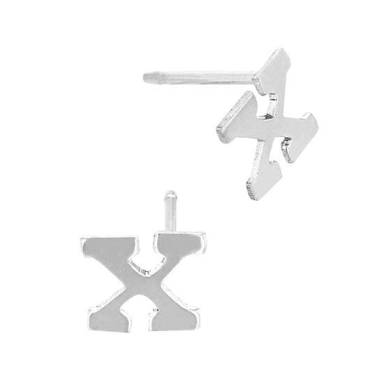 ss 5.6mm block style letter x stud earring