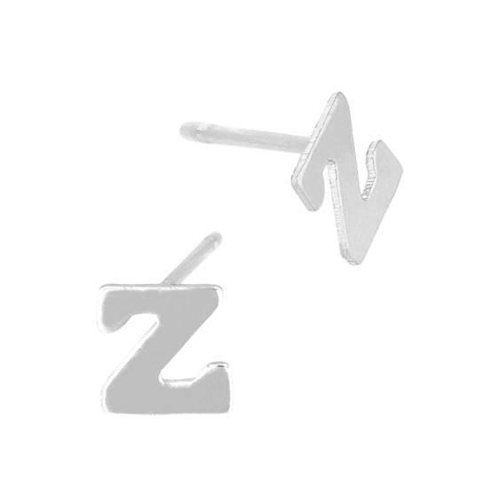 sterling silver 5.6mm block style letter z stud earring