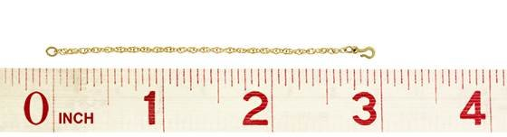gold filled 1.40mm by 76mm rope safety chain