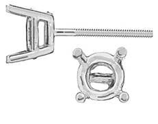 PLATINUM 3.25MM 15PTS STANDARD 4 PRONG EARRING WITH SCREW POST