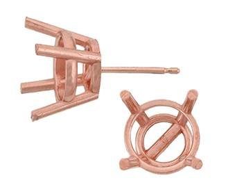 14KR 4.5MM 38PTS ROSE GOLD METAL MOLD 4 PRONG ROUND EARRING
