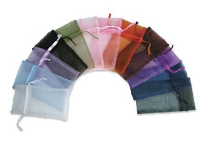 ASSORTED COLOR ORGANZA DRAWSTRING POUCH