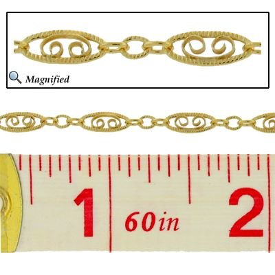 GOLD FILLED FILIGREE SCROLL CHAIN