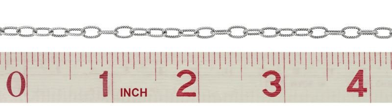 STERLING SILVER HAMMER OVAL CABLE CHAIN