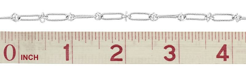 STERLING SILVER KNURL ELONGATED CABLE CHAIN