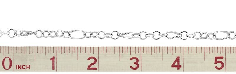STERLING SILVER KNURL FIGURE 8 CABLE CHAIN