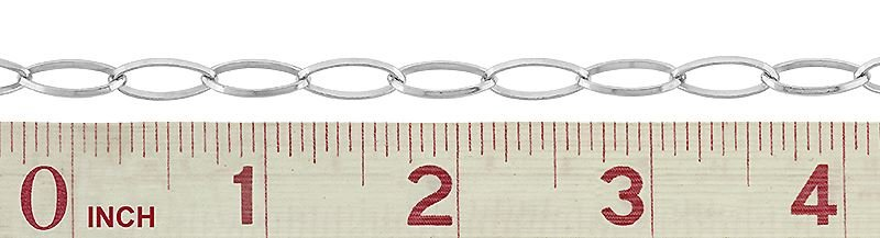 SS 14X7.5mm Diamond Oval Chain