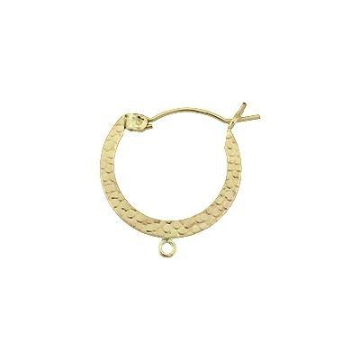 GF 22mm/3R Textured Hoop Click Earring With Ring