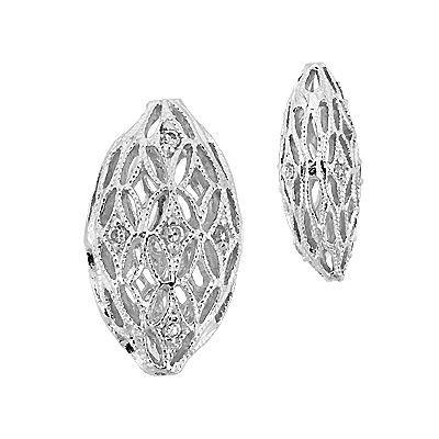 Rhodium Sterling Silver 18X10mm Cubic Zirconia Filigree Oval Bead