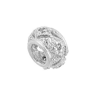 Rhodium Sterling Silver 10.5mm Cubic Zirconia Filigree Roundel Bead