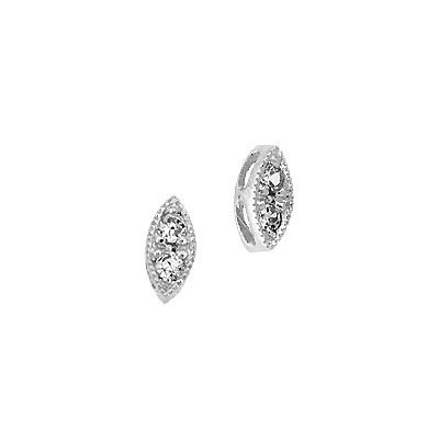 RHODIUM STERLING SILVER 6X3MM 2 CUBIC ZIRCONIA MARQUISE CONNECTOR